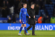 Leicester City manager Claude Puel and Leicester City forward Jamie Vardy (9) during the The FA Cup match between Leicester City and Sheffield Utd at the King Power Stadium, Leicester, England on 16 February 2018. Picture by Jon Hobley.