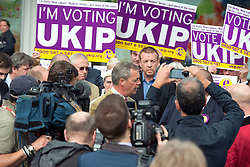LNP Weekly Highlights 02/05/14. FILE PICTURE. © Licensed to London News Pictures. 29/04/2014. Slough, UK. NIGEL FARAGE leader of UKIP in Slough today 29 April 2014 to congratulate local activists on more than doubling the candidates the party will field in local elections. Photo credit : Stephen Simpson/LNP