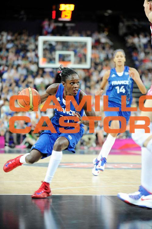 DESCRIZIONE : Basketball Jeux Olympiques Londres Demi finale<br /> GIOCATORE : Gomis Emmeline<br /> SQUADRA : France  FEMME<br /> EVENTO : Jeux Olympiques<br /> GARA : France Russie<br /> DATA : 09 08 2012<br /> CATEGORIA : Basketball Jeux Olympiques<br /> SPORT : Basketball<br /> AUTORE : JF Molliere <br /> Galleria : France JEUX OLYMPIQUES 2012 Action<br /> Fotonotizia : Jeux Olympiques Londres demi Finale Greenwich Northwest Arena<br /> Predefinita :