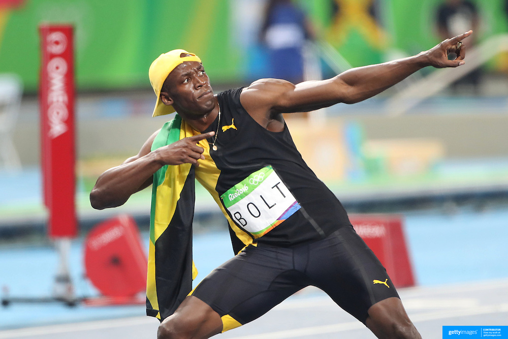 Athletics - Olympics: Day 9  Usain Bolt of Jamaica celebrates after winning the Men's 100m Final with his lightning Bolt stance at the Olympic Stadium on August 14, 2016 in Rio de Janeiro, Brazil. (Photo by Tim Clayton/Corbis via Getty Images)