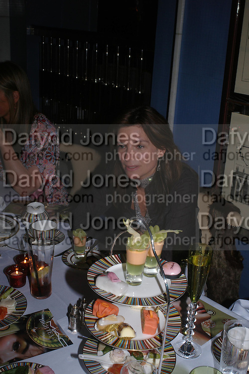 Nathalie Massenet. 'Pret-a-Portea'M.A.C. launches High Tea collection with British fashion designers. Berkeley Hotel. 17 January 2004. ONE TIME USE ONLY - DO NOT ARCHIVE  © Copyright Photograph by Dafydd Jones 66 Stockwell Park Rd. London SW9 0DA Tel 020 7733 0108 www.dafjones.com