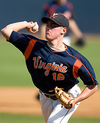 Virginia Cavaliers RHP Tyler Wilson (18)..The Virginia Cavaliers baseball team held a seven game Orange and Blue World Series at Davenport Field in Charlottesville, VA.  Images are from Game 6 held on October 22, 2007.