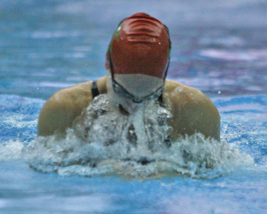 Jamestown's Megan Marsh in the breaststroke leg of the 200 medley relay 9-22-15 photo by Mark L. Anderson