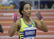 Feb 11, 2017; New York, NY, USA; Miki Barber (USA) reacts after placing seventh in the women's 60m in 7.35 during the 110th Millrose Games at The Armory.