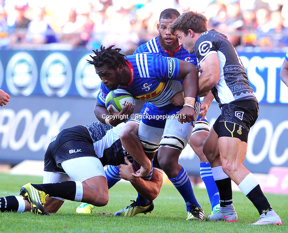 Siya Kolisi of the Stormers is held up by Daniel du Preez and Paul Jordaan of the Sharks during the 2016 Super Rugby match between the Stormers and the Sharks at Newlands Stadium, Cape Town on 12 March 2016 ©Ryan Wilkisky/BackpagePix