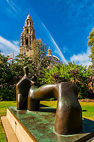 Henry Moore's Reclining Figure sculpture in the Sculpture Gardens of the San Diegeo Museum of Art (California Tower in the background), Balboa Park, San Diego, California USA.