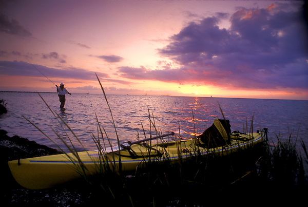 Kayak flyfishing in Aransas Bay on the Texas Gulf coast.