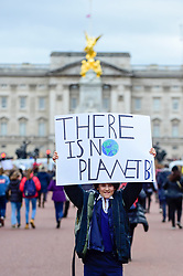 © Licensed to London News Pictures. 15/03/2019. LONDON, UK. A student holds up a sign in The Mall. Thousands of students take part in a Climate Change strike in Parliament Square, marching down Whitehall to Buckingham Palace.  Similar strikes by students are taking part around the world demanding that governments take action against the effects of climate change.  Photo credit: Stephen Chung/LNP