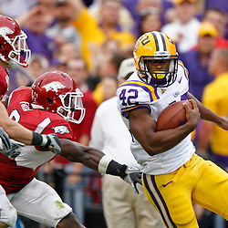 November 25, 2011; Baton Rouge, LA, USA;  LSU Tigers running back Michael Ford (42) runs against the Arkansas Razorbacks during the second half of a game at Tiger Stadium. LSU defeated Arkansas 41-17. Mandatory Credit: Derick E. Hingle-US PRESSWIRE