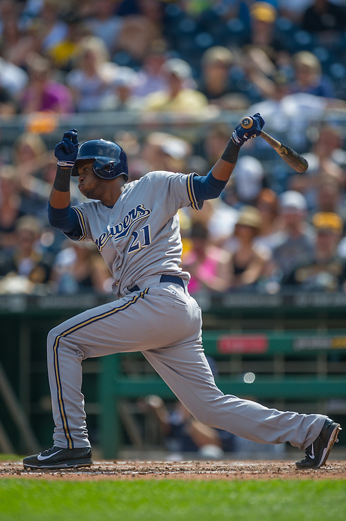 PITTSBURGH, PA - JUNE 08:  Irving Falu #21 of the Milwaukee Brewers bats during the game Pittsburgh Pirates at PNC Park on June 8, 2014 in Pittsburgh, Pennsylvania. (Photo by Rob Tringali) *** Local Caption *** Irving Falu