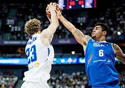 Lauri Markkanen of Finland vs Kristofer Acox of Iceland during basketball match between National Teams of Finland and Iceland at Day 7 of the FIBA EuroBasket 2017 at Hartwall Arena in Helsinki, Finland on September 6, 2017. Photo by Vid Ponikvar / Sportida