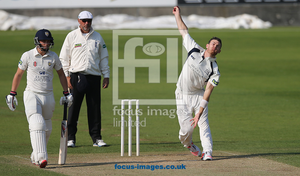 James Harris (r) of Middlesex bowling during the LV County Championship Div One match at Emirates Durham ICG, Chester-le-Street<br /> Picture by Simon Moore/Focus Images Ltd 07807 671782<br /> 23/08/2015