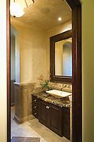 View through doorway to dark wood bathroom with leather mirror frame