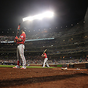 NEW YORK, NEW YORK - July 09: Bryce Harper #34 of the Washington Nationals and Daniel Murphy #20 of the Washington Nationals on deck waiting to bat during the Washington Nationals Vs New York Mets regular season MLB game at Citi Field on July 09, 2016 in New York City. (Photo by Tim Clayton/Corbis via Getty Images)