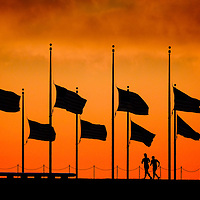 Flags fly at half staff around the Washington Monument at daybreak in Washington Monday, June 13, 2016 to honor the victims of the nightclub shooting in Orlando.