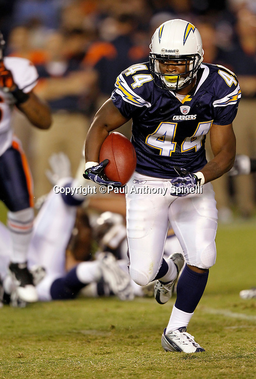 San Diego Chargers running back Curtis Brinkley (44) runs the ball during a NFL week 1 preseason football game against the Chicago Bears, Saturday, August 14, 2010 in San Diego, California. The Chargers won the game 25-10. (©Paul Anthony Spinelli)