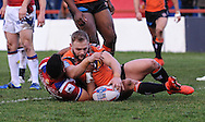 Mason Caton-Brown of Wakefield Trinity Wildcats can't stop Paul McShane of Castleford Tigers from scoring during the Pre-season Friendly match at Belle Vue, Wakefield<br /> Picture by Richard Land/Focus Images Ltd +44 7713 507003<br /> 15/01/2017