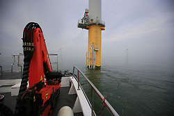 UK ENGLAND NORFOLK SHERINGHAM SHOAL 25SEP13 - Working deck of the Tidal Transit vessel Tia Elizabeth  at the Sheringham Shoal wind farm in the North Sea off the Norfolk coast, England.<br /> <br /> <br /> <br /> jre/Photo by Jiri Rezac<br /> <br /> <br /> <br /> © Jiri Rezac 2013