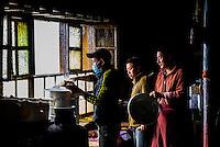 Teahouse, Ganden Monastery, Dagze, Tibet (Xizang), Tibet.