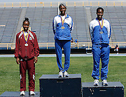 Hampton Lady Pirate Kellie Wells (middle) competes in the 2006 MEAC Track and Field Championships in Greensboro, North Carolina.  May 07, 2006  (Photo by Mark W. Sutton)