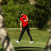 28 March 2018: Mila Chaves tracks the flight of her ball from the fifteenth tee box during the final round of match play against UCLA at it's annual March Mayhem Tournament at the Farms Golf Club in Rancho Santa Fe, California.<br /> More game action at sdsuaztecphotos.com