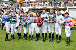Competeing jockies for the Magnolia Cup at the Qatar Goodwood Festival - Ladies Day held at Goodwood Racecourse, West Sussex on 30th July 2015.