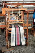 Weaver working on hand loom, Ajijic, Jalisco, Mexico.