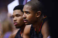 Jan 23, 2016; Phoenix, AZ, USA; Atlanta Hawks center Al Horford (15) sits on the bench alongside teammate forward Kent Bazemore (24) in the second half at Talking Stick Resort Arena. The Suns won 98-95. Mandatory Credit: Jennifer Stewart-USA TODAY Sports