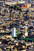 Al-Kairouine Mosque and University, Fez Medina, Morocco, 2018-02-03.<br /> <br /> View over the old Fez Medina and the Al-Karaouine Mosque and University (building with green tiled roof and white Minaret).<br /> <br /> Established at the very beginnings of Morocco's oldest imperial city, the University of Al-Karaouine (also written as Al-Quaraouiyine and Al-Qarawiyyin) was founded in 859 and is considered by Unesco and the Guinness Book of World Records to be the oldest continually operating university in the world.<br /> <br /> Located in the heart of the old city, the complex is composed of a mosque, university and library, and is connected to the labyrinth of interconnecting streets and alleyways on all four sides. Its ceramic green tiled roofs take centre stage over Fez's urban sprawl from any viewpoint over the city.