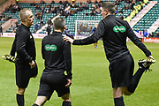 Officials warm up for the Ladbrokes Scottish Premiership match between Hibernian and Rangers at Easter Road, Edinburgh, Scotland on 19 December 2018.