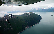 High above Katmai, Alaska in search of Brown Bears.