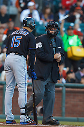 July 8, 2011; San Francisco, CA, USA;  New York Mets right fielder Carlos Beltran (15) argues with MLB umpire David Rackley (86) after a called third strike during the first inning against the San Francisco Giants at AT&T Park.