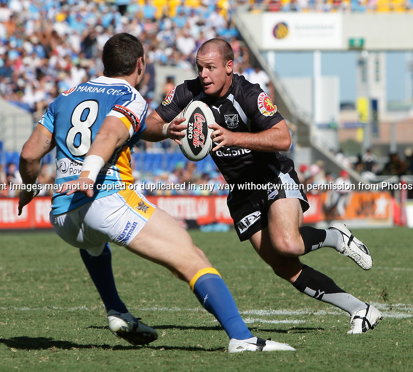 Nathan Fein with the try line in sight during round 7 of the NRL - Gold Coast Titans v New Zealand Warriors. Played at Skilled Stadium, Robina QLD. Titans (36) defeated the Warriors (24).  Photo: Warren Keir (Photosport NZ).<br /> <br /> Use information: This image is intended for Editorial use only (e.g. news or commentary, print or electronic). Any commercial or promotional use requires additional clearance.
