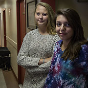 WASHINGTON, DC - OCT11:  Gettysburg College freshman (L-R) Morven Whalley and Anna Malafronte, pose for a portrait in the hallway of the N Street Shelter, in Luther Place Memorial Church, October 10, 2014, where they will volunteer later in the evening sleeping at the shelter. The two students take a literature of homeless course at Gettysburg which brings them to D.C. to learn first-hand about homelessness. (Photo by Evelyn Hockstein/For The Washington Post)