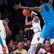 January 9, 2018, New York, NY : The St. John's and Georgetown men's basketball teams compete during Tuesday night's matchup between the Hoyas and Red Storm at the Garden. In something of a rematch of their 1985 contest, Basketball greats Patrick Ewing and Chris Mullin returned to Madison Square Garden on Tuesday night to face off as coaches with their respective Georgetown and St. John's teams.  CREDIT: Karsten Moran for The New York Times