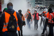 ETUC EURO-MANIFESTATION in Brussels 4 April 2014. Brussels police used tear gas and water cannon in clashes with protesters, as thousands gathered at a trade union rally against austerity. Photo: Erik Luntang