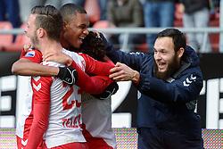 13-12-2015 NED: FC Utrecht - AFC Ajax, Utrecht<br /> Utrecht verslaat Ajax opnieuw in de Galgenwaard 1-0 / Yassin Ayoub #6 scoort de winnende treffer. Bart Ramselaar #23 gaf de assist, Patrick Joosten #37, Nacer Barazite #10