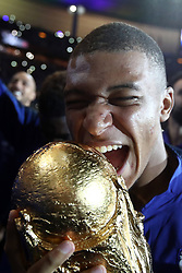 September 9, 2018 - Paris, 93, France - Kylian Mbappe of France celebrates with the World Cup Trophy after the UEFA Nations League A group official match between France and Netherlands at Stade de France on September 9, 2018 in Paris, France. This is the first match of the French football team at the Stade de France since their victory in the final of the World Cup in Russia. (Credit Image: © Mehdi Taamallah/NurPhoto/ZUMA Press)
