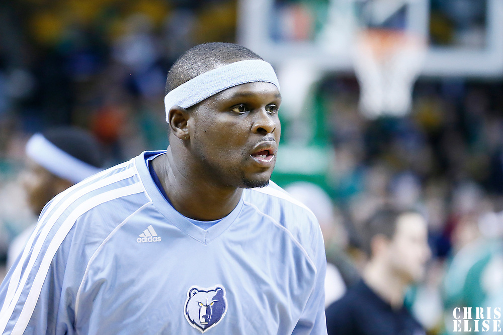 02 January 2013: Memphis Grizzlies power forward Zach Randolph (50) warms up prior to the Memphis Grizzlies 93-83 victory over the Boston Celtics at the TD Garden, Boston, Massachusetts, USA.