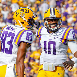 Oct 12, 2013; Baton Rouge, LA, USA; LSU Tigers quarterback Anthony Jennings (10) celebrates with wide receiver Travin Dural (83) after a touchdown against the Florida Gators during the first half of a game at Tiger Stadium. Mandatory Credit: Derick E. Hingle-USA TODAY Sports