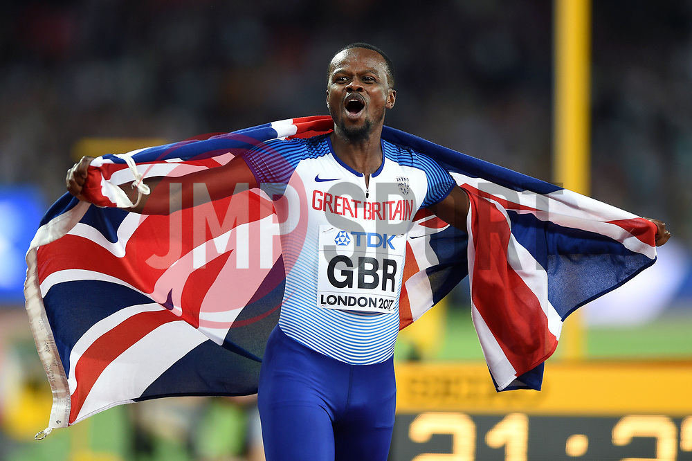 Rabah Yousif of Great Britain celebrates a bronze medal finish - Mandatory byline: Patrick Khachfe/JMP - 07966 386802 - 13/08/2017 - ATHLETICS - London Stadium - London, England - Men's 4x400m Metres Relay Final - IAAF World Championships