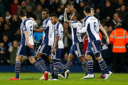 Saido Berahino of West Brom (4L) celebrates scoring a goal to make it 2-0 - Photo mandatory by-line: Rogan Thomson/JMP - 07966 386802 - 11/02/2015 - SPORT - FOOTBALL - West Bromwich, England - The Hawthorns - West Bromwich Albion v Swansea City - Barclays Premier League.