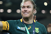 South Africa's Schalk Burger saying goodbye to fans after possibly retiring from international rugby during the Rugby World Cup Bronze Final match between South Africa and Argentina at the Queen Elizabeth II Olympic Park, London, United Kingdom on 30 October 2015. Photo by Matthew Redman.