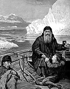 The Last Voyage of Henry Hudson'. Engraving after picture by John Collier. Henry Hudson (c1550-1611) English navigator, set adrift with son and seven others by mutinous crew.  Never seen again.