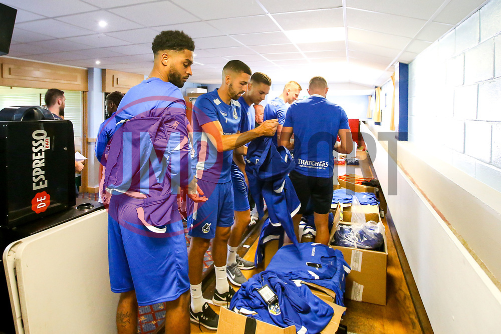 Bristol Rovers players get their sizes for the new kit during the first day of preseason training ahead of the 2019/20 Sky Bet League One Season - Mandatory by-line: Robbie Stephenson/JMP - 27/06/2019 - FOOTBALL - The Lawns - Bristol, England - Bristol Rovers Return for Preseason Training
