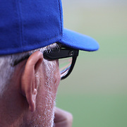 NEW YORK, NEW YORK - July 02: Manager Joe Maddon #70 of the Chicago Cubs watching from the dugout during the Chicago Cubs Vs New York Mets regular season MLB game at Citi Field on July 02, 2016 in New York City. (Photo by Tim Clayton/Corbis via Getty Images)