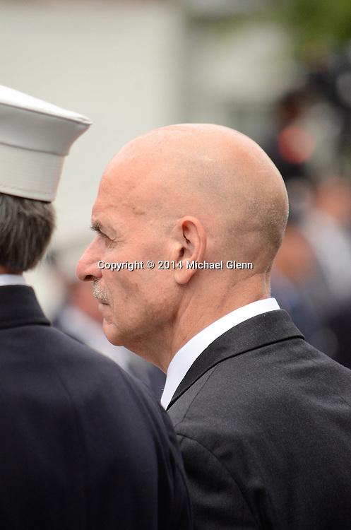 Staten Island, New York - July 10: Sla Cassano, Former FDNY Commissioner attends the Funeral of Lt Gordon M. Ambelas L119 at Saint Clares Church on July 10, 2014 in New York, New York. Photo Credit: Michael Glenn / Glenn Images