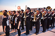 23 SEPTEMBER 2011 - SCOTTSDALE, AZ: THe Desert Mountain band marches onto the field before the game at Desert Mountain High School in Scottsdale. Desert Mountain played Notre Dame in Desert Mountain's homecoming high school football game.     PHOTO BY JACK KURTZ