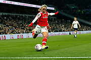 Jordan Nobbs delivers a cross during the FA Women's Super League match between Tottenham Hotspur Women and Arsenal Women FC at Tottenham Hotspur Stadium, London, United Kingdom on 17 November 2019.