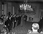 01/01/1953<br /> 01/01/1953<br /> 01 January 1953<br /> The Diplomatic Corps in Ireland call on President Sean T. O'Kelly at Aras an Uachtarain for the New Years Greeting ceremony. The assembled Corps led by the Papal Nuncio, Most Rev. Dr. Gerald O'Hara who reads the address to the President.